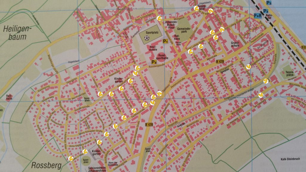 Gelbe Füße auf Stadtplan